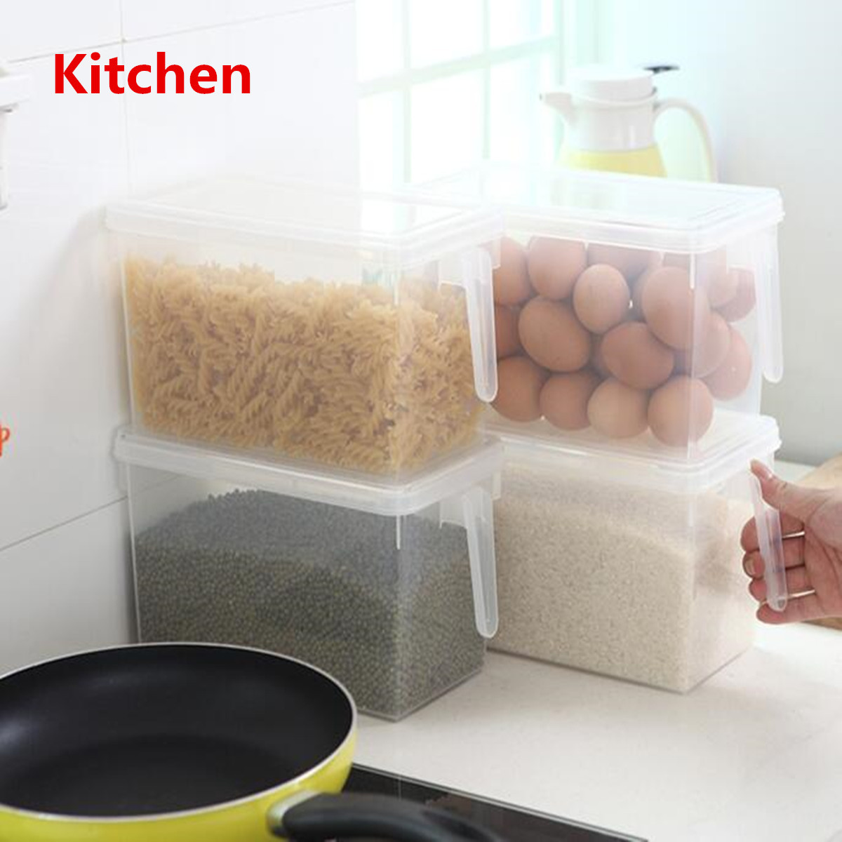 2PCS Kitchen Refrigerator Food Storage Box Case Container Organizer Sealed Plastic Crisper with Handle + Lid by