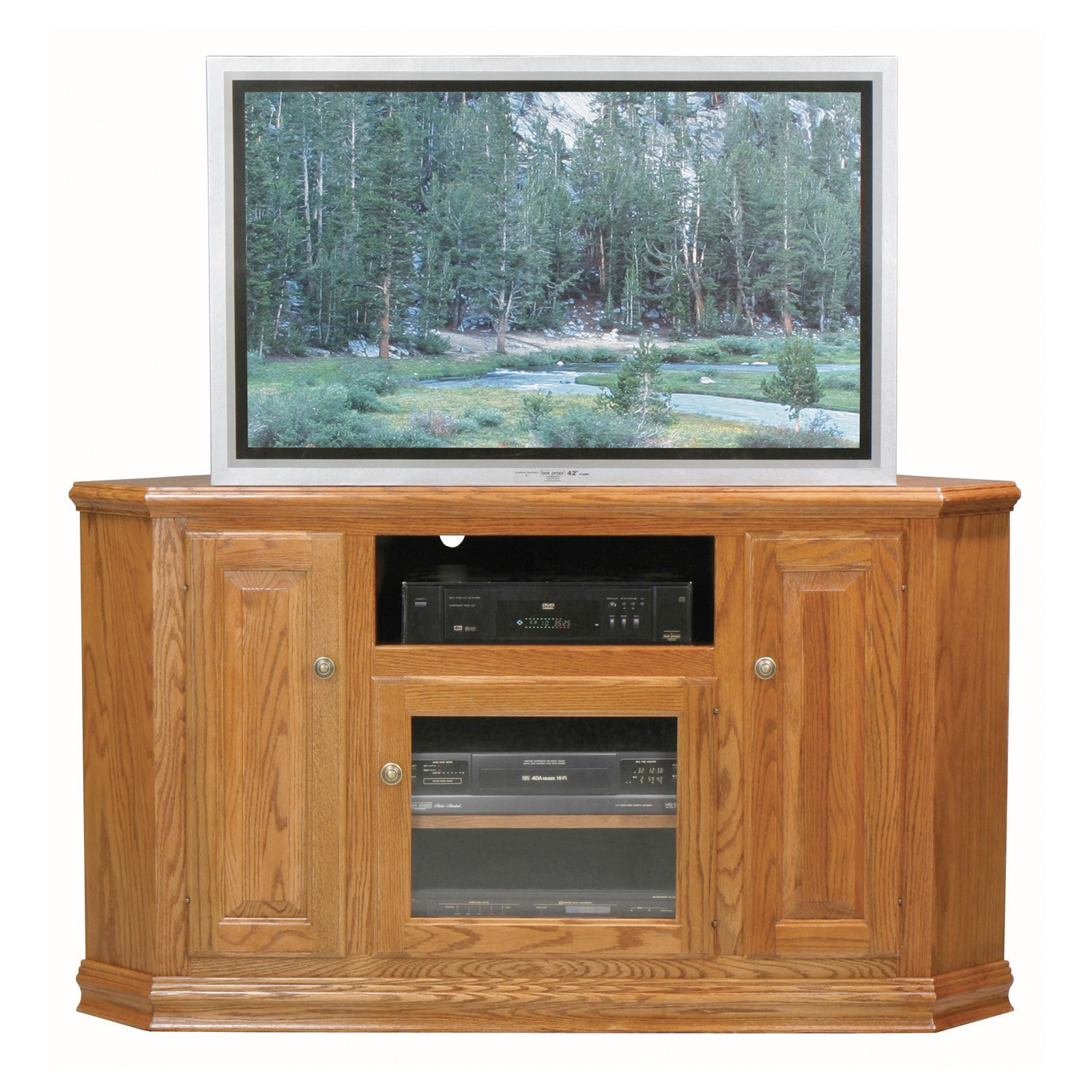 Eagle Furniture Classic Oak Customizable 57 in Tall Corner TV Stand