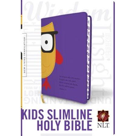 Kids Slimline Bible NLT, TuTone (Red Letter, LeatherLike, Purple/Yellow Owl)
