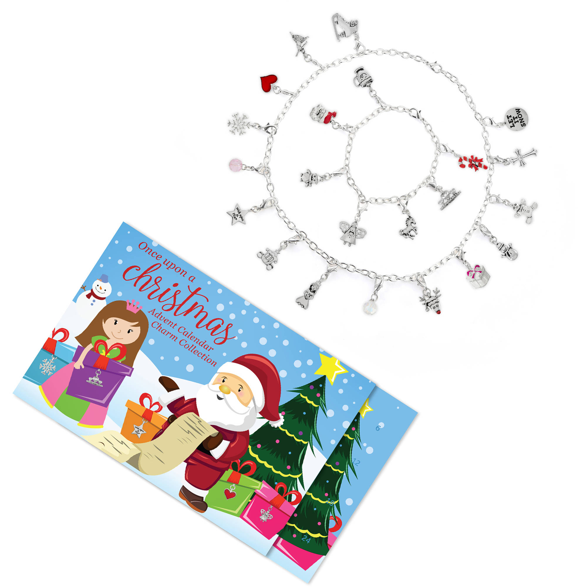 Girls' Christmas Advent Calendar Jewelry Charm Collection including 22 Charms, 1 Bracelet, and 1 Necklace