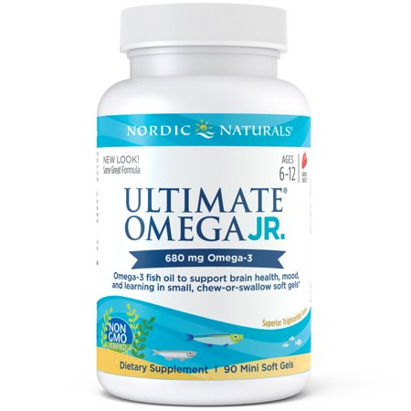 Nordic Naturals Ultimate Omega Junior Softgels, Strawberry, 680 Mg, 90