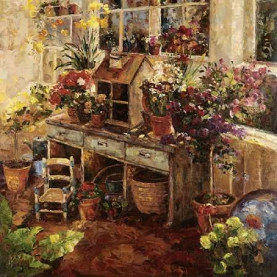 Hong Stretched Canvas Art - Michelles Potting Bench - Small 12 x 12 inch Wall Art Decor Size.
