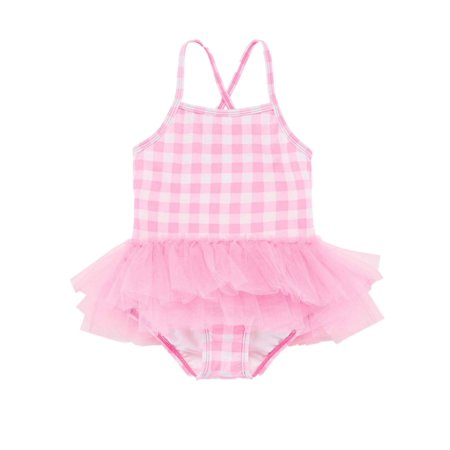 Okie Dokie Toddler Girls One Piece Pink & White Plaid Tutu Ruffled Swim Suit