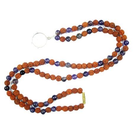 Mogul Meditation Ajna Chakra Lapis Lazuli Necklace Mental Clarity Energy Beads Yoga Jewelry With Pendent (Chakra Yoga Pendant)