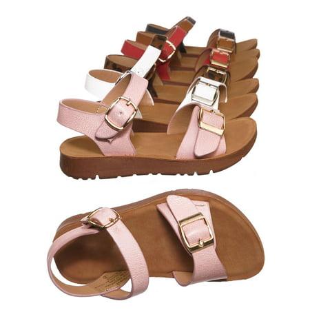 Orange Girls Sandals - Reform9KA by Flourish, Baby Toddler Comfort Flat Sandal - Unisex Infant Size Open Toe Shoe