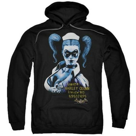 Adult Batman Hoodie (Trevco Batman Aa-Arkham Harley Quinn - Adult Pull-Over Hoodie - Black,)