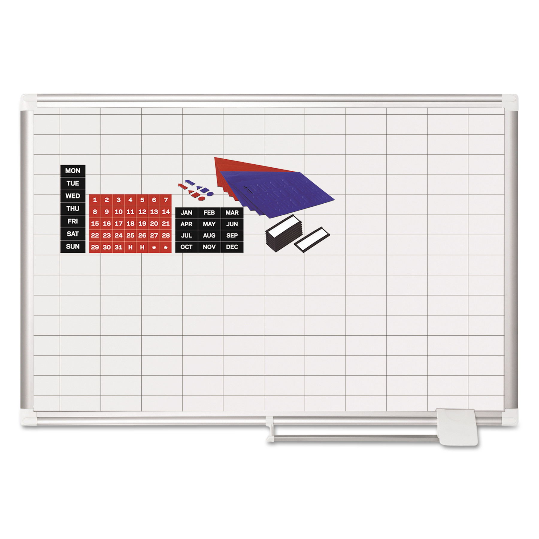 "Click here to buy MasterVision Grid Planning Board w  Accessories, 1x2"" Grid, 36x24, White Silver by BI-SILQUE VISUAL COMMUNICATION PRODUCTS INC."