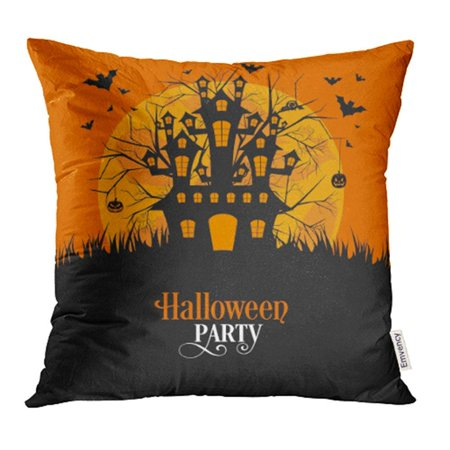 ARHOME Haunted of Halloween Party House Abstract Autumn Bat Black Broom Calligraphy Pillow Case Pillow Cover 16x16 inch Throw Pillow Covers