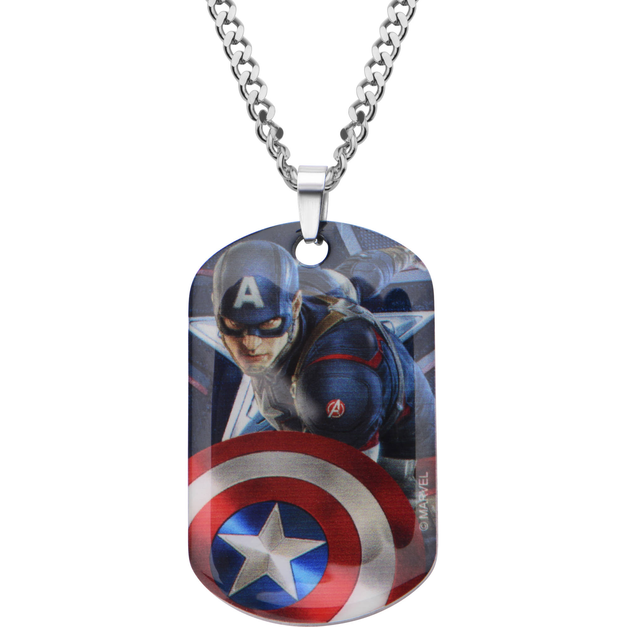 "Marvel Men's Stainless Steel Captain America Dog Tag Pendant, 22"" Chain"