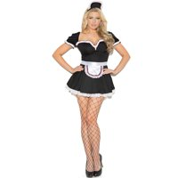 """Elegant Moments Women's """"Maid To Please"""" 3 pc costume includes mini dress, apron and head pieces. Black, 1X/2X"""