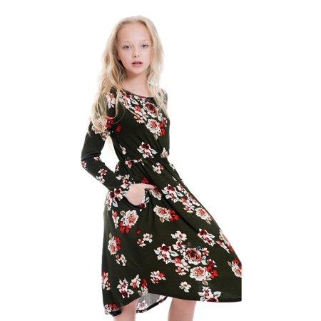 Tween Fl Midi Dress Olive