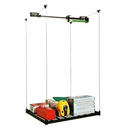 Xtremepowerus 48 x 48 garage storage rack ceiling shelf for Electric motorized storage lift system