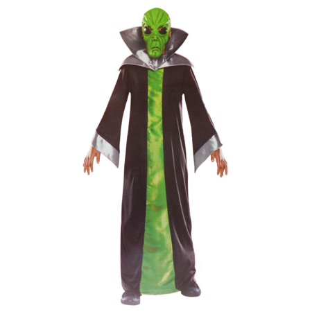 Boys Spaced Out Alien Halloween Costume Mask, Collar & Robe S4-6 - Decorate Office Space For Halloween