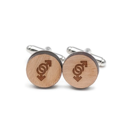 Symbol Cufflinks Cufflinks - Gay Symbol Cufflinks, Wood Cufflinks Hand Made in the USA