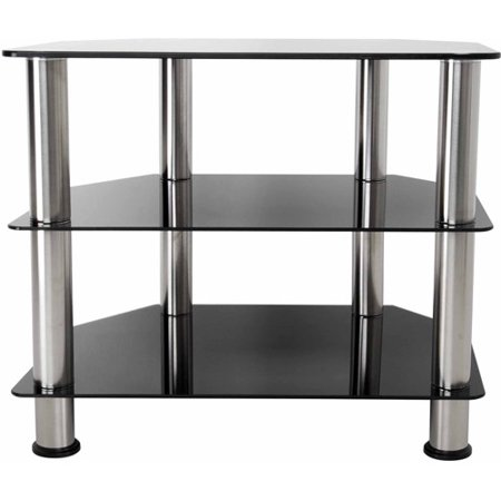 AVF Black Glass Floor Stand with Chrome Legs for TVs up to 32″