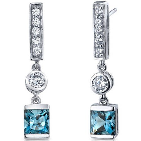 London Blue Topaz Drop (2.50 Carat T.G.W. Princess-Cut London Blue Topaz Rhodium over Sterling Silver Drop Earrings )