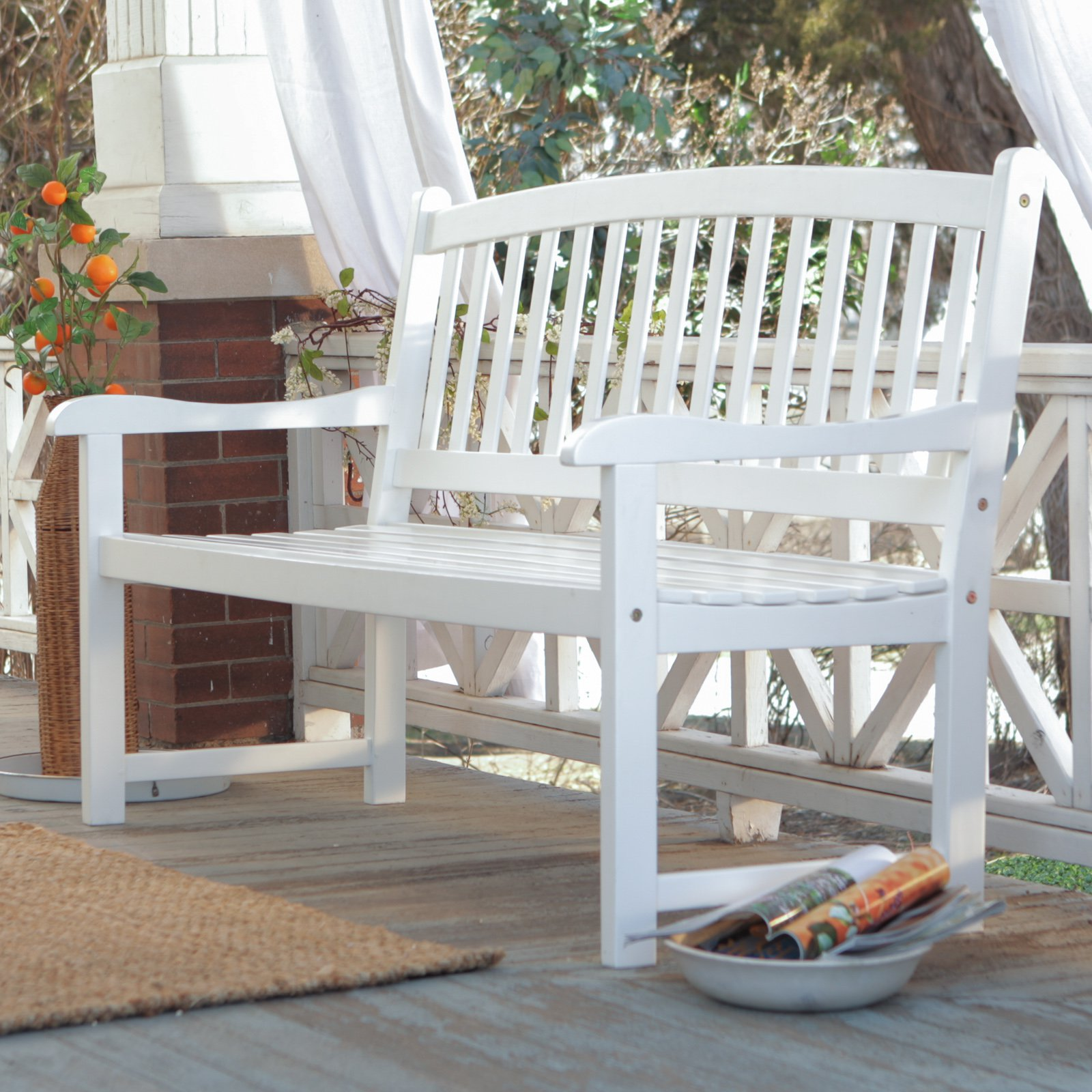 Coral Coast Pleasant Bay Curved Slat-Back Outdoor Wood Bench - White