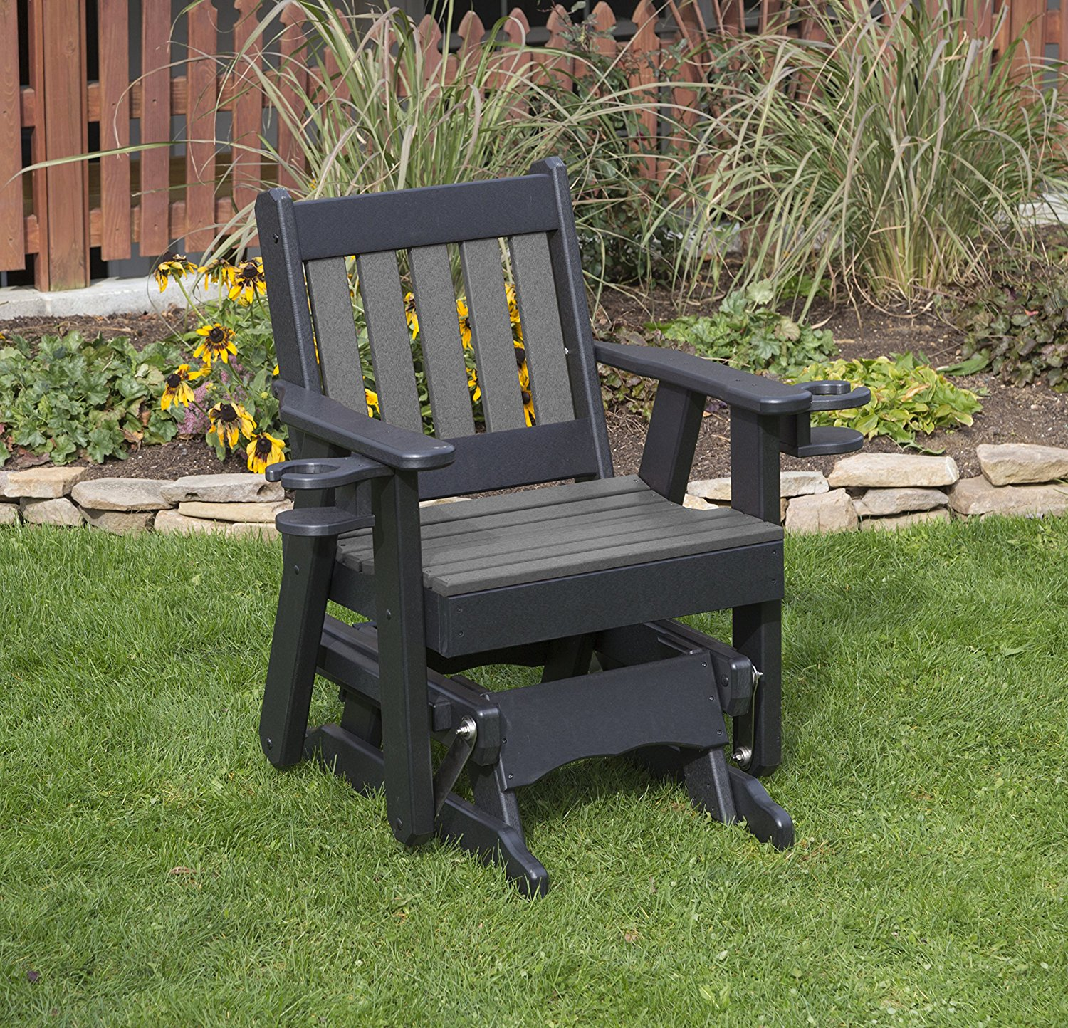 Outdoor Garden Exterior Dark Gray Finish 2 Ft Poly Lumber Mission Everlasting Amish Crafted Traditional Glider With Cupholder Arms