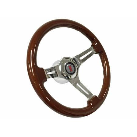 1969 - 1989 Oldsmobile S6 Mahogany Finish Steering Wheel Chrome Kit ()