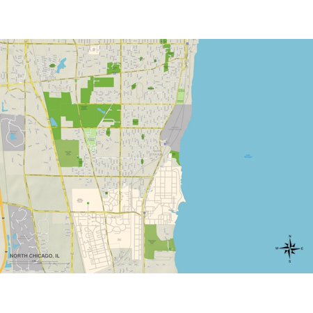 Political Map of North Chicago, IL Print Wall Art