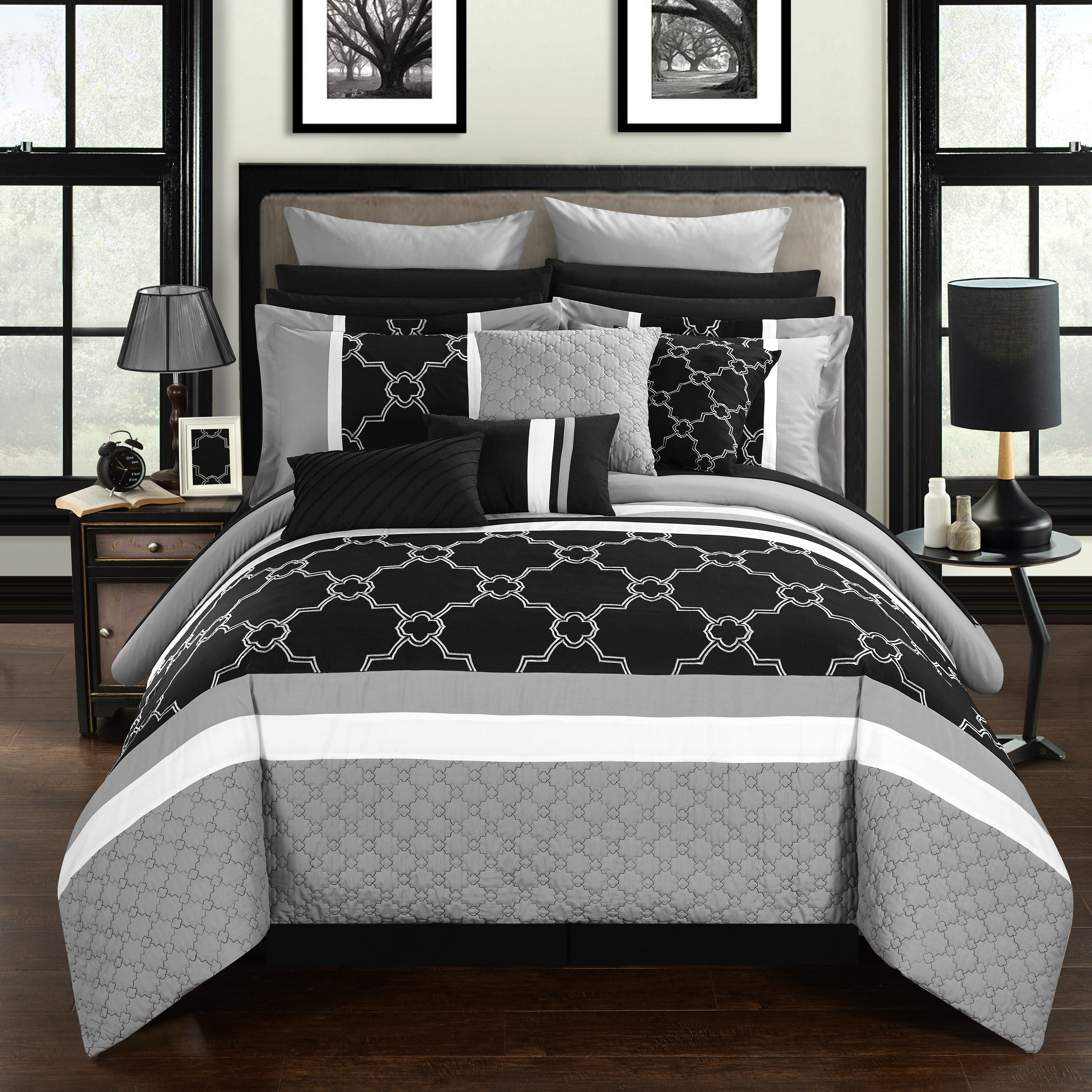 Chic Home 16-Piece Casper Pinch Contemporary Embroidered and Quilted Bed In a Bag Comforter Set with Sheets