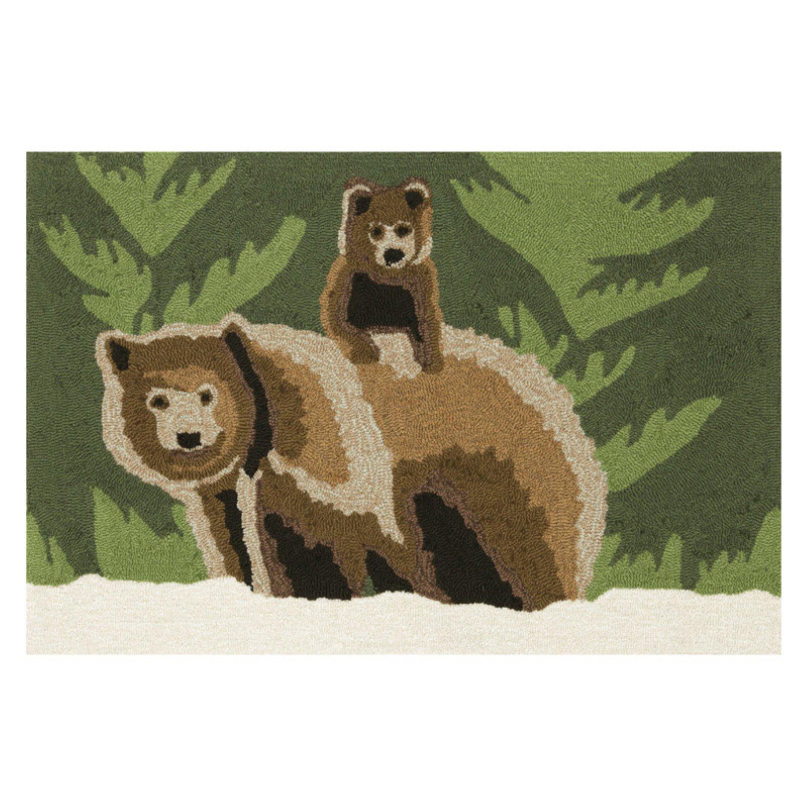 Trans-Ocean Rug Frontporch Bear Family Green Indoor/Outdoor Area Rug