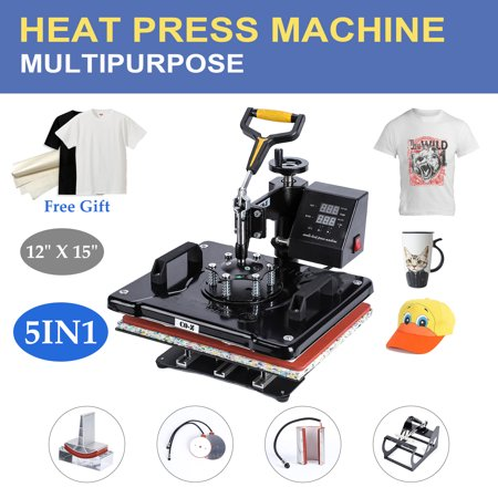 "Mcruffy Press - 12"" X 15"" Heat Press 360 Degree Swivel Heat Press Machine 5 in 1"