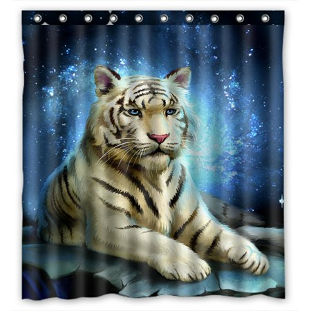 PHFZK White Tiger King Blue Galaxy Polyester Fabric Bathroom Shower Curtain 66x72 inches Tigers Jersey Shower Curtain