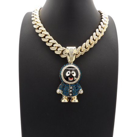 Hip Hop Fashion Iced Out Eskimo Brick Pendant w/ 12mm 18