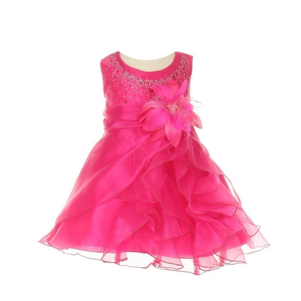 Cinderella Couture Baby Girls Fuchsia Crystal Organza Cascade Ruffle Dress 6-24M