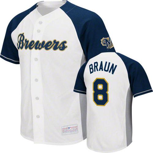 MLB - Ryan Braun Jersey: Adult MLB Genuine Collection White/Navy #8 Milwaukee Brewers Jersey