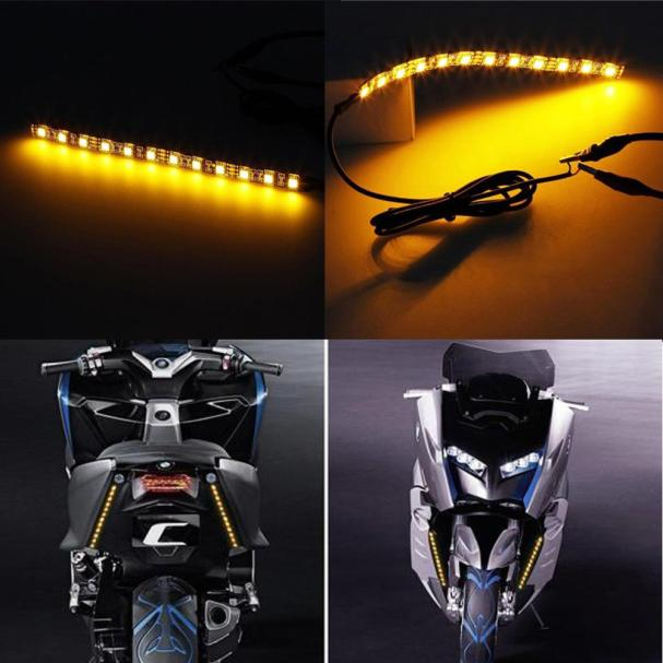 Motorcycle Turn signal Amber lights Strip 12LED