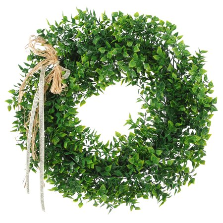 Artificial Leaf Wreath Door Hanging Wall Window Decoration Holiday Festival Wedding Decor - Monogram Holiday Wreath Garden