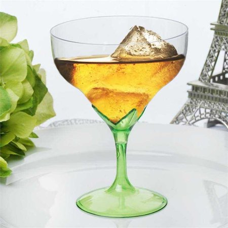 Efavormart 30 Pcs Disposable Clear Plastic  Champagne Goblet for Wedding Birthday Party Banquet Events Cocktail Cups - Green Cocktail Glasses