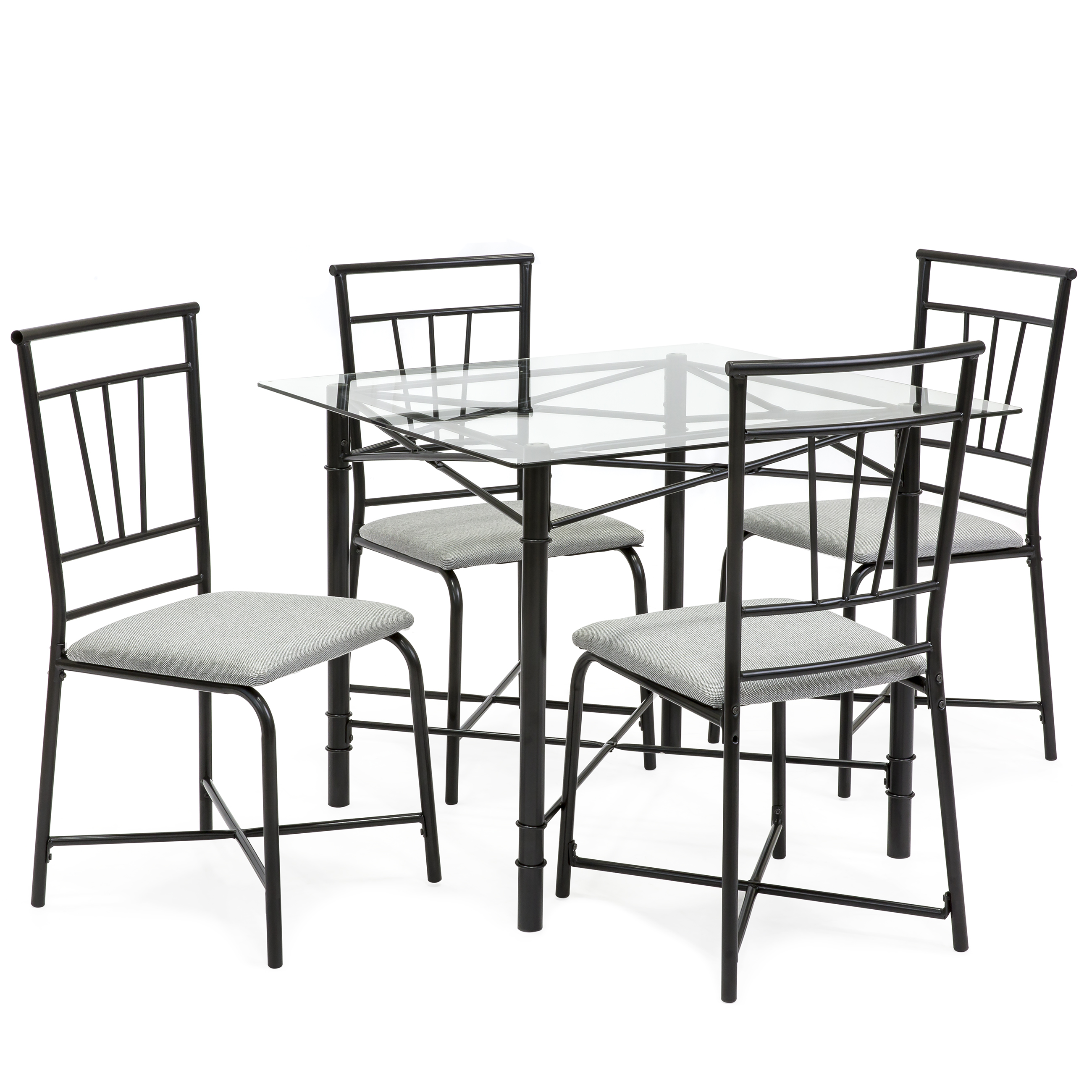 Best Choice Products 5 Piece Square Glass Dining Table Set W 4