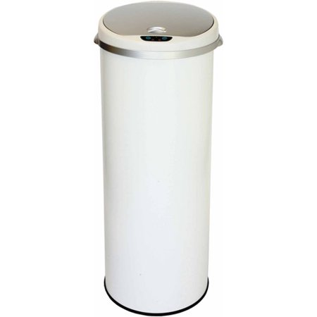 iTouchless 13 Gallon Round Sensor Trash Can, Pearl White, with Deodorizing - White Trash Halloween