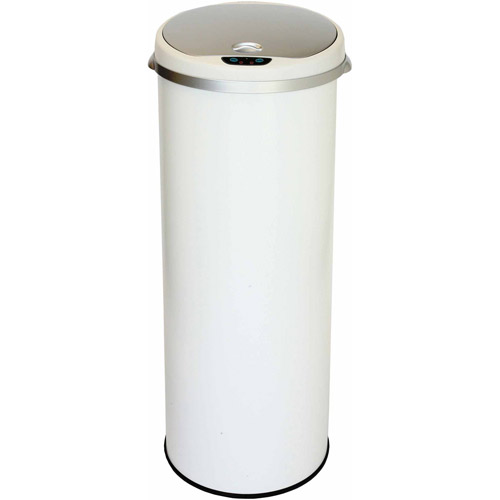 itouchless 13 gallon round sensor trash can pearl white with deodorizing feature