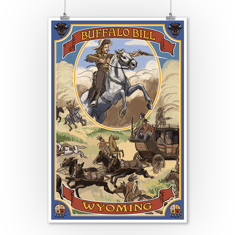 Wyoming - Buffalo Bill & Wagon Scene - Lantern Press Artwork (9x12 Art Print, Wall Decor Travel Poster)