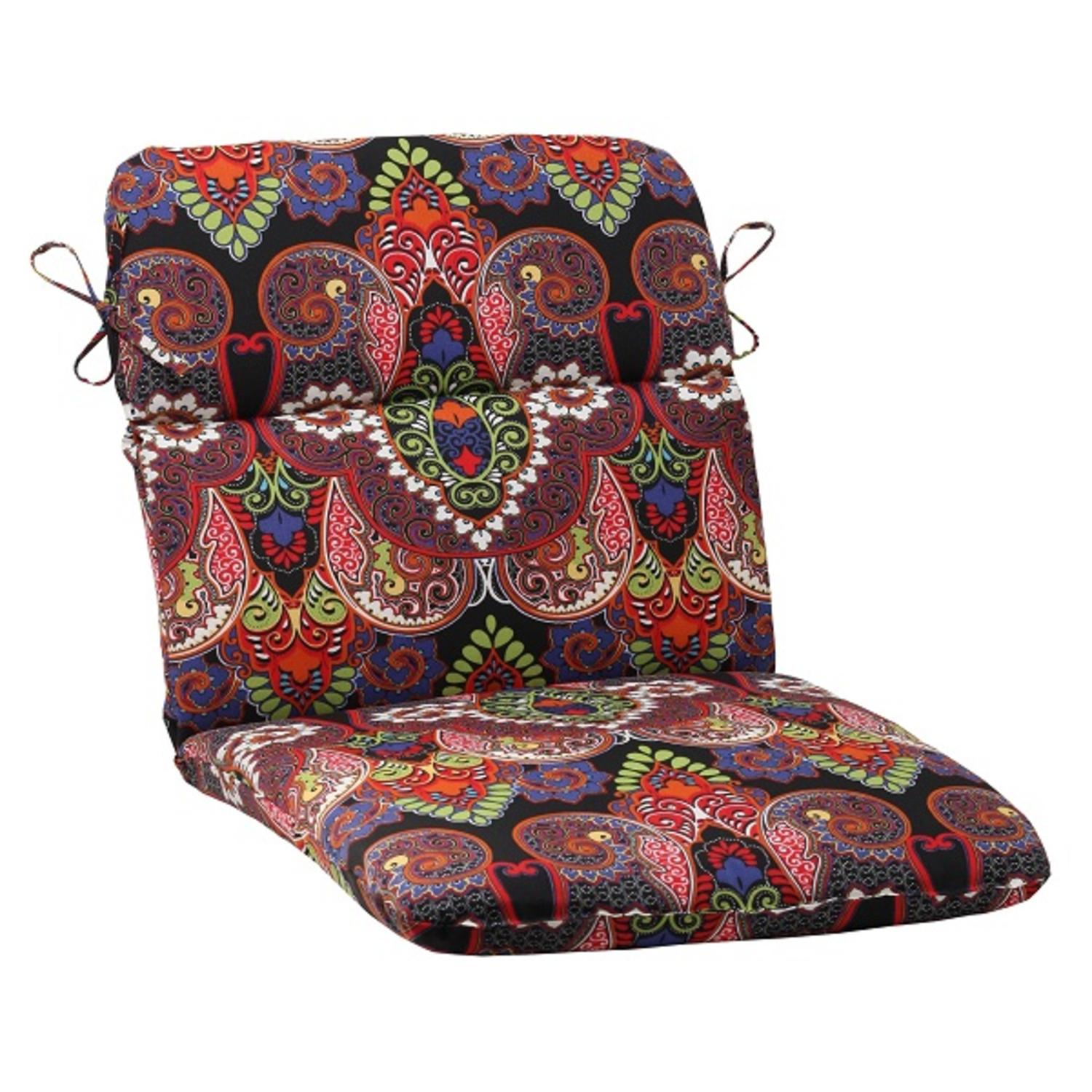 "40.5"" Black Floral Maze Outdoor Patio Rounded Chair Cushion with Ties"