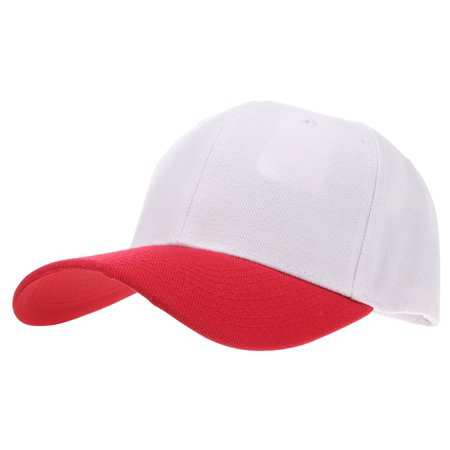 Enimay Baseball Hat Solid Plain   Two Tone Cap Curved Bill Adjustable  Outdoor Sport Hat Two Tone White Red One Size 16302c40fc3