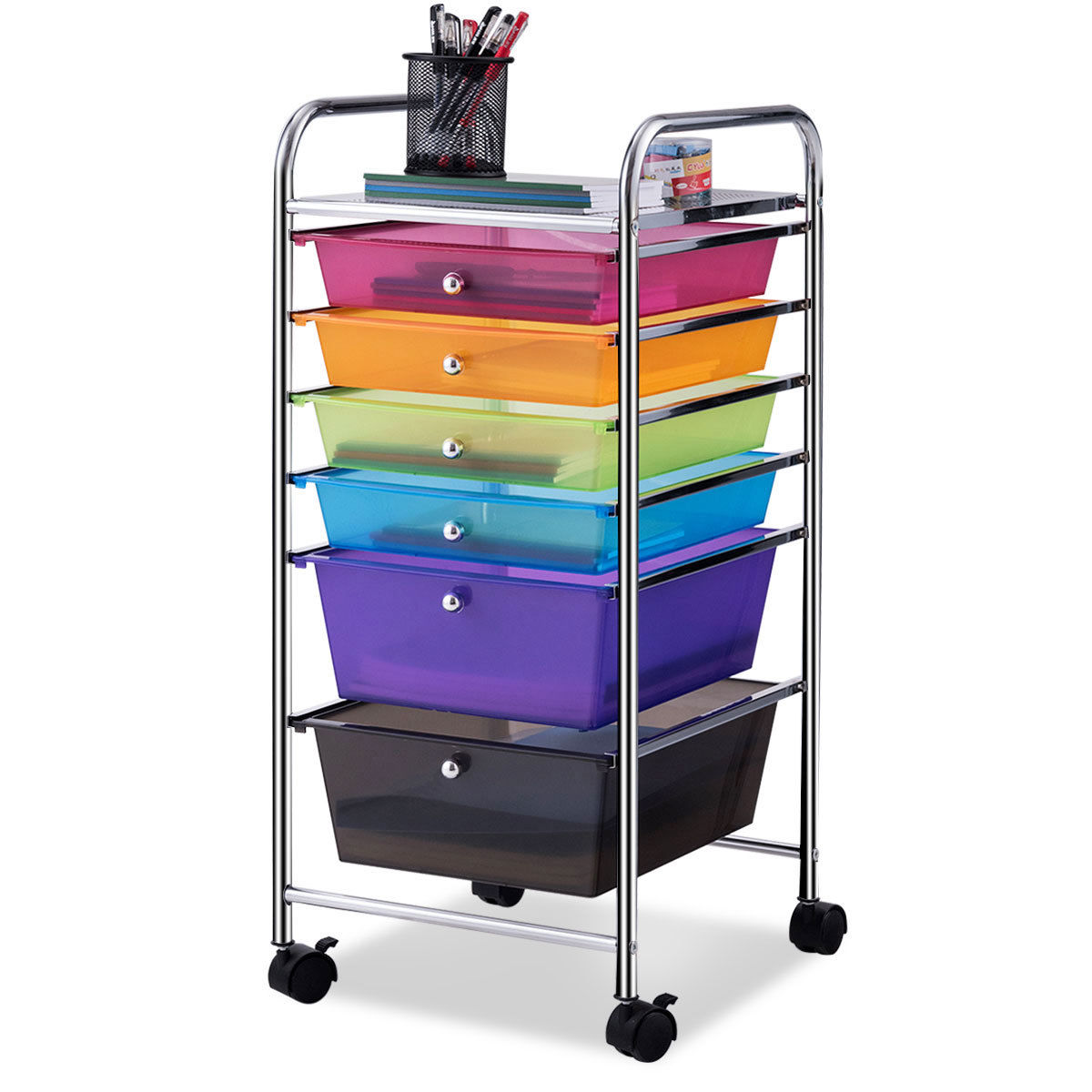 Costway 6 Drawer Rolling Storage Cart Tools Scrapbook Paper Office School Organizer