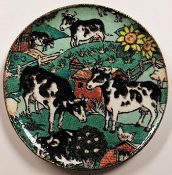 Dollhouse Cows In Pasture Platter