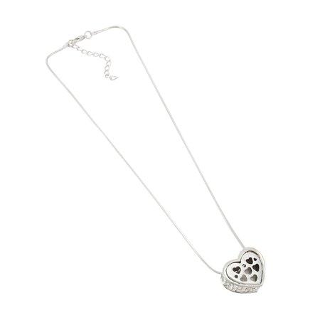 Rhinestone Encrusted Heart Necklace / Pendant Polished Chrome - image 1 de 5