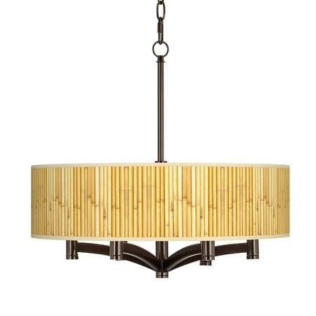 Giclee Glow Bamboo Mat Ava 6-Light Bronze Pendant Chandelier
