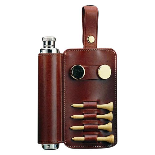 Stainless Steel Flask with Golf Accessories, Brown Leather