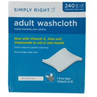 """Simply Right Adult Washcloth Disposable Moist Wipes 12"""" x 8"""" - 240 ct"""