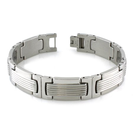 Stainless Steel Grill Pattern Link Bracelet, 8.5 Inches