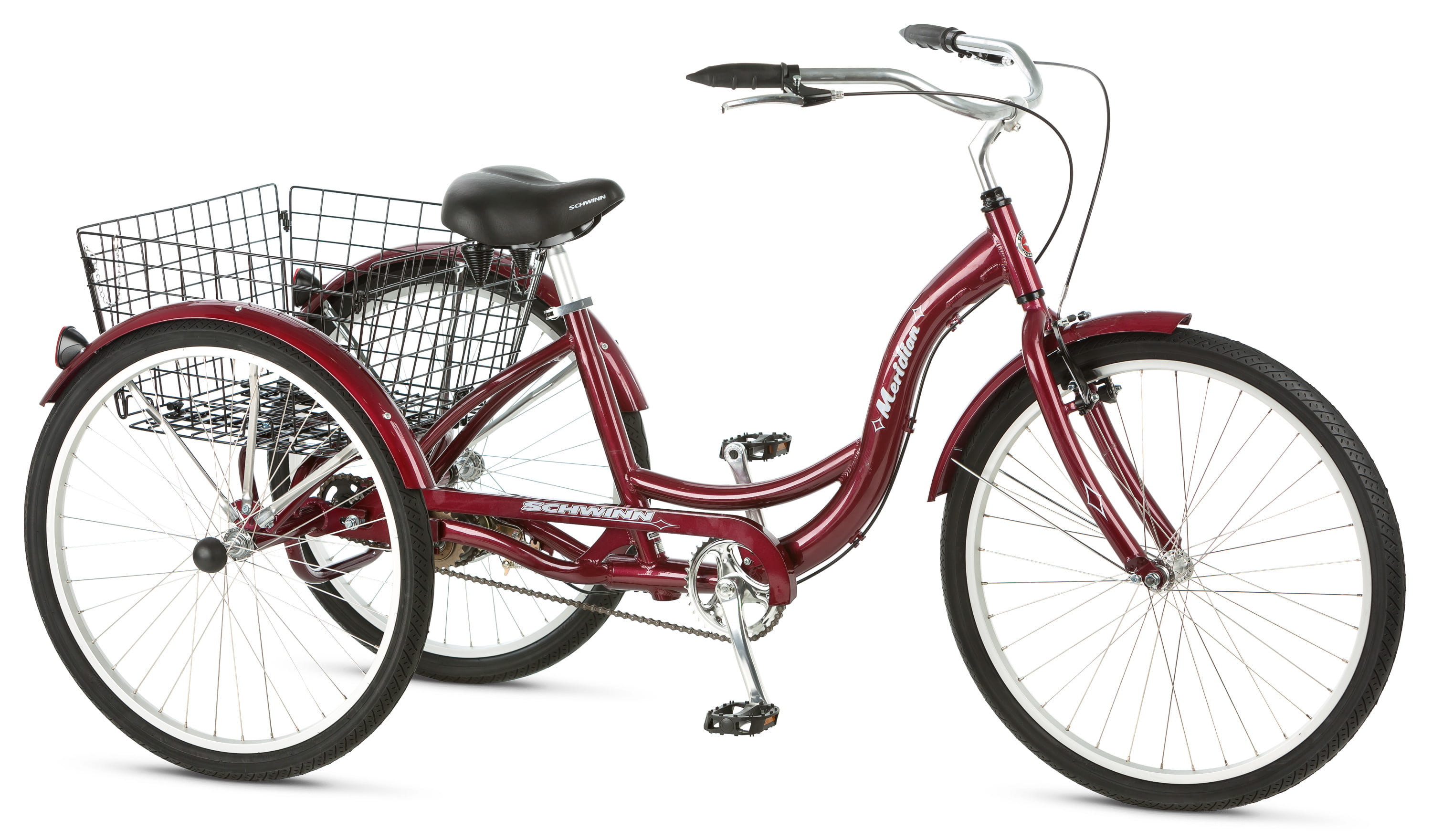 Schwinn Meridian Adult Tricycle, 26-inch wheels, rear storage basket,  Cherry - Walmart.com - Walmart.com