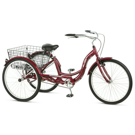 Schwinn Meridian Adult Tricycle, 26-inch wheels, rear storage basket, Cherry