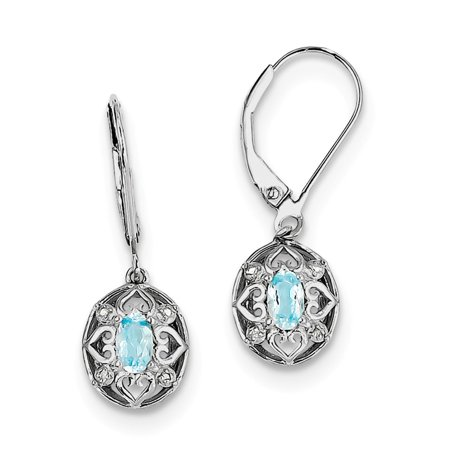 925 Sterling Silver (.015cttw) Light Blue Topaz Diamond Earrings (28mm x 10mm)](Light Blue Diamond)